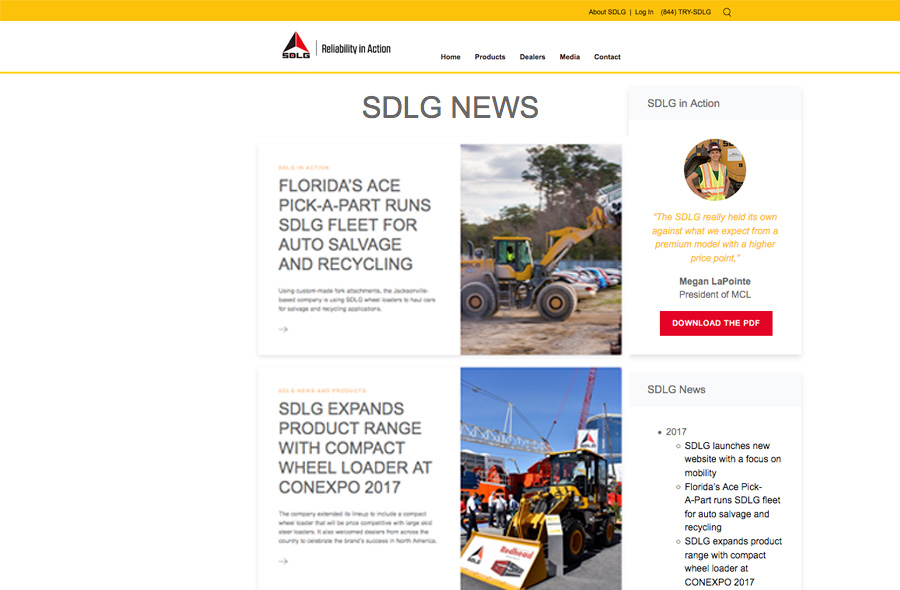 SDLG Launches New Front End Loader Website